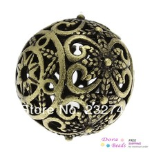 Doreen Box hot- Copper Spacer Beads Round Antique Bronze Flower Pattern Hollow About 17mm x 16mm,Hole:Approx:2mm,5PCs (B32379)