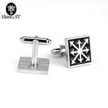 Wholesale Black Enamel Jewelry Game Accessories Warhammer Chaos Star Cufflink Fashion Vintage Square Brand Cufflinks For Men