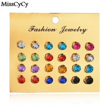 MissCyCy New 12 Pairs/set Colorful Crystal Earrings Piercing Gold Color Fashion Stud Earrings For Women Bijoux Jewelry Brincos