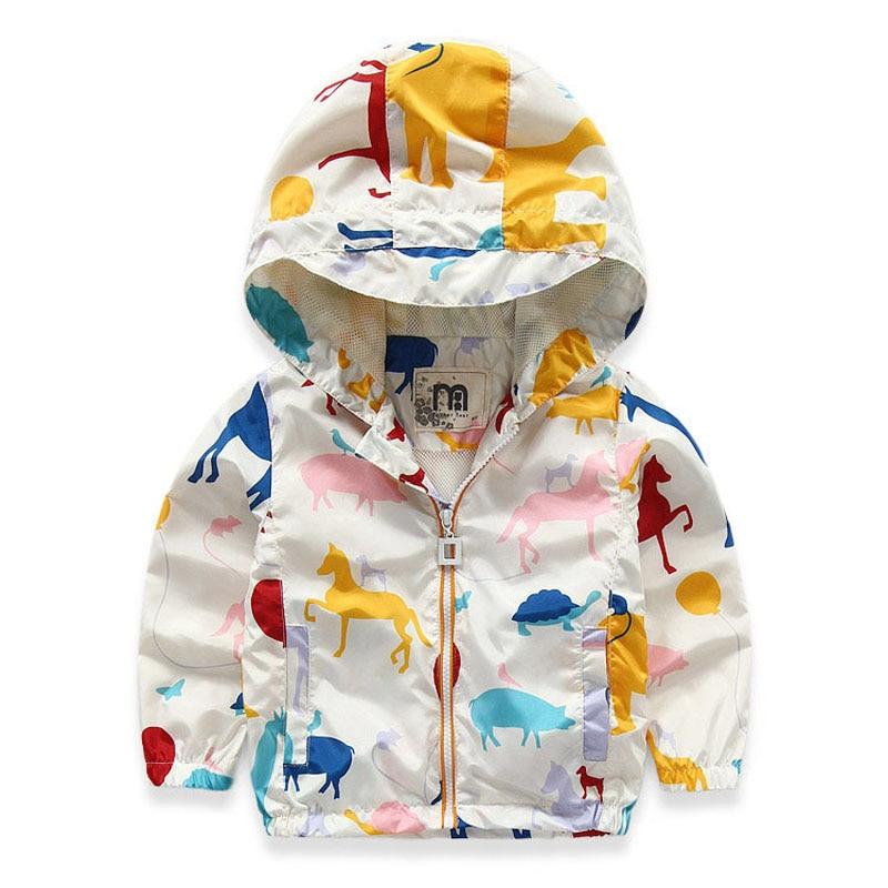 girls jackets and coats spring baby boy girl jackets kids cartoon animals printed girl boy jacket hooded  windpoof jackets 2-7T<br>