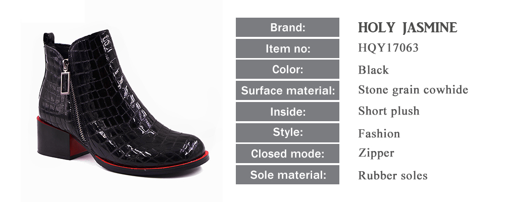 Hot sale Women Boots 17 New Fashion Shoes Woman Genuine Leather black Ankle Boots Winter Warm Wool Snow Square heel Boots 2