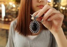 N192 Korean Special Push Retro Carved Oval Imitation Gemstone Necklace 2017 new arrival fashion jewelry wholesale  free shipping