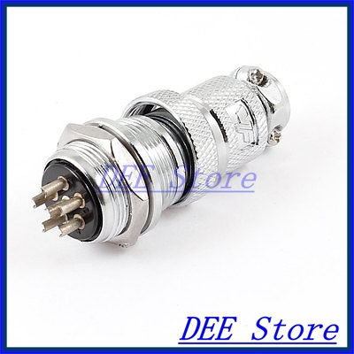 AC 200V 5A 1000V 6P 6 Pin Aviation Connector Male Plug Joint Silver Tone<br><br>Aliexpress