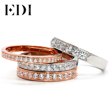 EDI Diamond Anniversary Ring 18K White Gold 0.16ct/0.26ct/0.36ct/0.5ct Real Natural Diamond Wedding Band For Women 18K Rose Gold