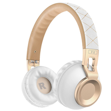 Hi-Fi Bass Metal Headband Headset,Wireless Bluetooth 4.1 Headphones With Mic Support TF Card, Rose Gold Headphones for girls