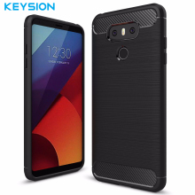 Keysion Phone Case For LG G6  Carbon Fiber Brushed Wire Drawing Silicone Cover For LG G 6 LGG6 5.7 inch Mobile Phone Shell