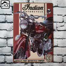 Indian Motorcycle Vintage Poster Metal Tin Signs 20X30CM Iron Plate Wall Decor Plaque Club Home Bar Shop Gallery Garage decor