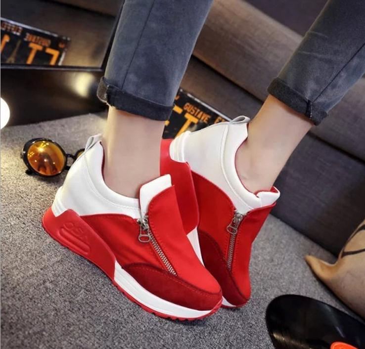 Free shipping 2015 spring  shoes breathable shoes casual shoes Kore Fashion side zipper thick crust muffin flat shoes<br><br>Aliexpress