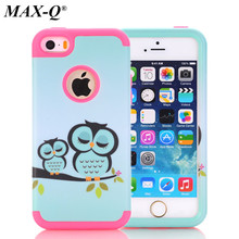 MAX-Q For Apple iPhone 5 5S 5g 5c Case owl flowers elephant Phone pattern Cases Rubber Silicone + PC Hybrid Case Covers Fundas(China)