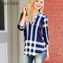 BEFORW Women's T shirt European Style Womens Clothing Sexy V Neck T-shirts Summer Autumn Fashion Plaid Print Women Tops Tshirt