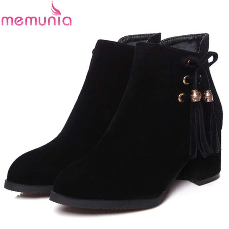 MEMUNIA Pointed toe flock solid zip fashion boots high heels shoes woman ankle boots for women autumn big size 34-43<br>