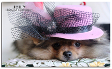 A tumming dog with a pink hat looking you diamonds embroidery pictures of needlework mosaic painting of animals rhinestones yarn(China)