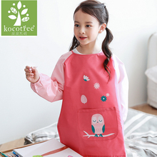 Cartoon Animals Children Baby Todders Waterproof Long Sleeve Painting Smock Bibs Apron Cotton Feeding Baberos Bavoir Clothing(China)