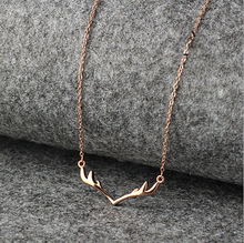3um silver antler necklace rose gold silver charms simple pendant minimalist christmas deer necklace