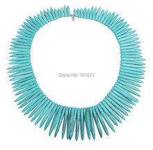 Personalized Punk Choker Necklaces Fashion Blue Tassel Chunky Statement Necklace Punk Style Ivory Shape Stone Maxi Necklace