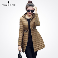 Pinky Is Black2017 New Female Warm Winter Jacket Women Coat Thin Down Cotton Parka Ultra-light Cotton-padded Jacket Long Outwear(China)