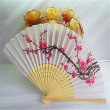 FD4245 new  Elegant Folding Hand Fan Japanese Cherry Flora Blossom Design Silk Fan