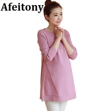 Afeitony new 2017 Maternity clothing autumn sweater dress basic  one-piece dress maternity sweater medium-long O-Neck