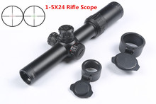 Tactical 1-5X24 Rifle Scope Red Green Illuminated Reticle Mil-dot Riflescope 30mm Tube Air Rifle Sight Caza Mira Para Optical(China)