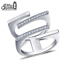 Effie Queen Attractive Design Ladies Crystal CZ Engagement Cocktail Ring for Women Zirconia Jewelry Large Finger Rings DR127(China)