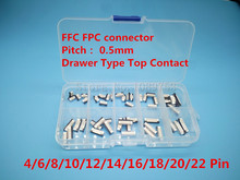 50pcs FFC FPC connector 0.5mm 4/6/8/10/12/14/16/18/20/22 Pin Drawer Type Top Contact Flat Cable Connector Socket Sets