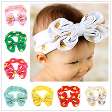 Gold Dot Child Cotton Bow Headband Girls Head Wraps Knit Headwraps Headbands for Kids Hair Accessories 1pc HB491