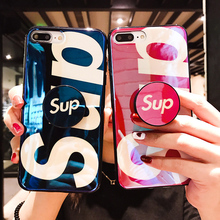 Buy Luxury Blue ray Supre case iphone 7 POP Finger ring Stand Holder soft silicone back cover iphone X 6 6s 7 8 Plus for $3.89 in AliExpress store