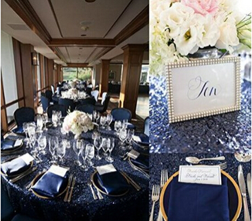 Navy Sequin Tablecloth Or Navy Sequin Glitz Linen Or Overlay(90u0027u0027*132
