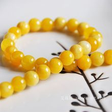 yellow chalcedony 4-12mm round loose beads diy materials bracelet necklace earrings making jewelry craft findings handmade-(China)