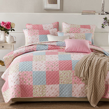 Bedding Set King Size luxury Cotton Bright Patchwork Quilted Bedspread Set Printed Comforter Bedding Sets Handmade Bedding Set(China)
