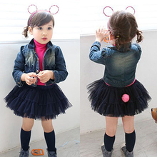 2016 Autumn Female Children'S Clothing Baby Child Girl Denim Jacket Skirt Twinset 2 Pcs Set
