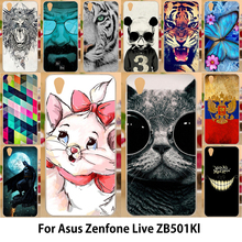AKABEILA Phone Bags Cases For Asus Zenfone Live ZB501KL Zenfone 3 Go Cover Soft TPU Hard Shell Cute Pig Cat Tiger Durable Shell