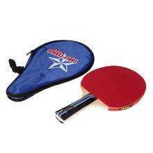 Long Handle Shake-hand Table Tennis Racket Ping Pong Paddle + Waterproof Bag Pouch Red Indoor Table Tennis Accessory