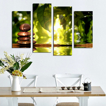 Fashion 4 panel painting moderm home decoration combinative canvas painting green leaf stone for beauty life F1746 free shipping(China)