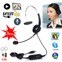 Free shipping!3Pcs/lot Headset Surround Stereo Headband Headphone USB 2.0 With Mic Earpiece For PC(China)