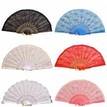 NEW 1 Pcs Handmade Wedding Dance Party Wedding Lace Surface Folding Hand Held Flower Fan 10 Colors