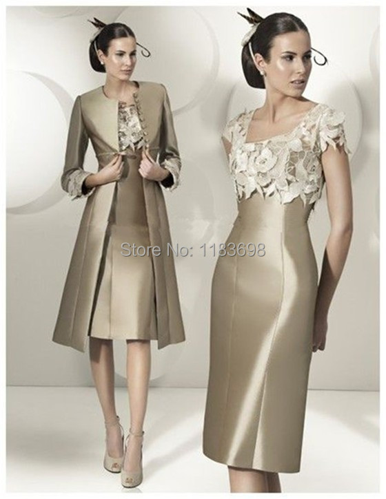 Elegant Applique Plus Size Mother Of The Bride Dress Knee Length Mother Of The Groom Dresses With Long Jacket Women Evening Gown