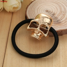 Velishy-Women Metal Gold Candy Color Skull Elestic Black Head Band Girl Hair Ring Rope Tie Ponytail Holder Hair Accessory