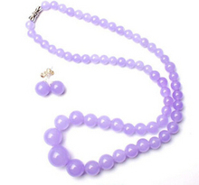 xiuli 00545 Pretty Handmade 6-14mm Natural Lavender Tower Beads Necklace Earrings Set(China)