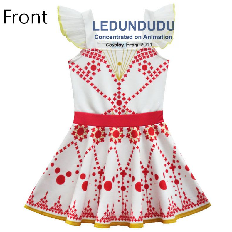 Children\`s White Print Dress Movie Ballerina Cosplay Costume Kid Baby Girl Sleeveless Dress 2 (3)