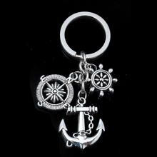 New Fashion Vintage Silver Alloy Compass&Anchor Charms KeyChain Bag Decoration For Car Key Ring Jewelry Accessories