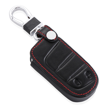 Leather Car Key Cover Key Case for Jeep Grand Cherokee Renegade 2014 2015 Chrysler 300C Fiat Freemont Auto accessories(China)