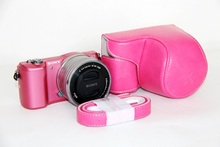 Luxury High Quality Leather Camera Bag Case For Sony A5000 A5100 NEX 3N NEX-3N 16-50mm lens Pink Free Shipping