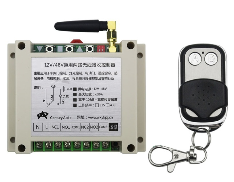 New DC12-48V 2CH RF Wireless Remote Control Switch System library door control 1pc (JRL-10) transmitter 1 receiver Learning code<br>
