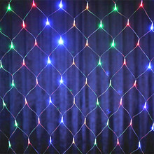 Colorful 2*2m 144 LED Net Light Red de la lampara Christmas Lights Wedding/Party Decoration Outdoor LED Lighting Waterproof EU(China)