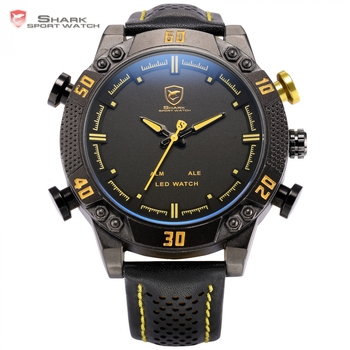 Kitefin Shark Sport Reloj Amarillo Negro Banda de Cuero Dial 3ATM Impermeable de Cuarzo LED Digital Dual Time Hombres Relojes Militares/SH263