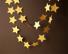 4m Gold Star Garlands for Windows Doorway Ceiling Decors Wedding Decoration Showers Birthday Party Decoration