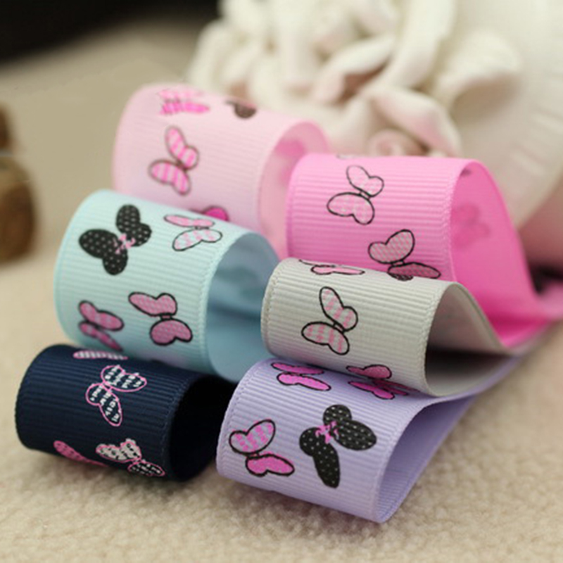 5meter/lot 25mm butterfly children head flower ribbon DIY hair accessories handmade tape with pattern material T-014
