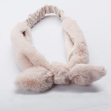 Korean Style Fluffy Rabbit Ear Hair Bands Girls Plush Bunny Ears Elastic Headbands Make Up Wash Face Hair Accessories For Women