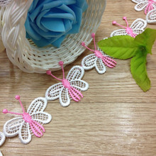 1 Yrd 5cm Embroidery White & Pink Butterfly Sewing Trim DIY Craft 1175 New